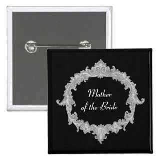 MOTHER OF THE BRIDE Silver Black Vintage V12 Button
