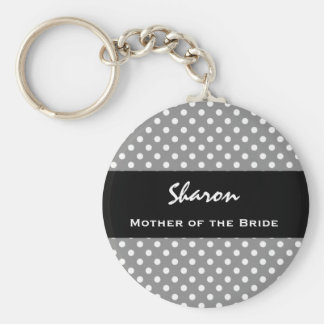 MOTHER OF THE BRIDE Silver Polka Dot Gift Item Keychain
