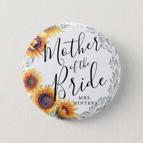 Mother of the Bride  Sunflower Florals Wedding Button