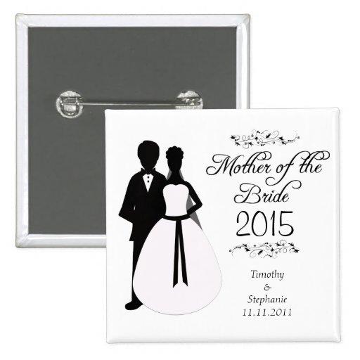 Mother of the bride swirls wedding favor button