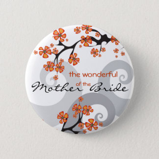 MOTHER OF THE BRIDE Tropical Flower Wedding Button