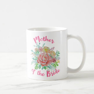 Mother of the Bride Vintage Floral Watercolor Gift Coffee Mug