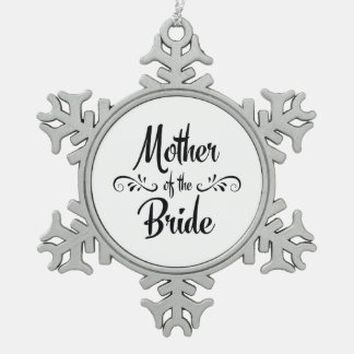 Mother of the Bride Vintage Style Snowflake Pewter Christmas Ornament