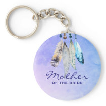 Mother of the Bride Watercolor Featherss Keychain