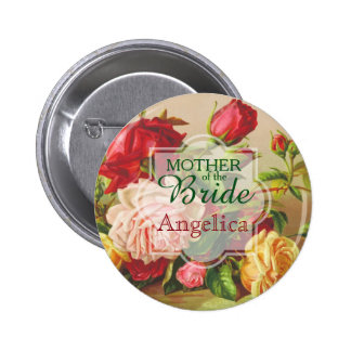 Mother of the Bride Wedding Vintage Victorian Rose Pinback Button