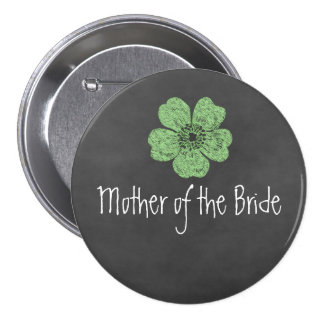 Mother of the Bride Wild Green Roses Chalkboard Buttons