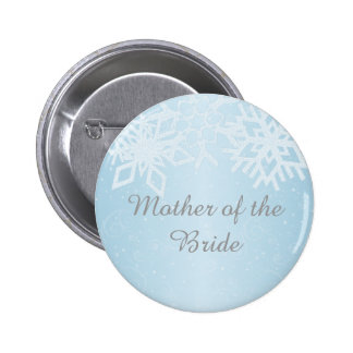 Mother of the Bride Winter Snowflakes Pinback Buttons