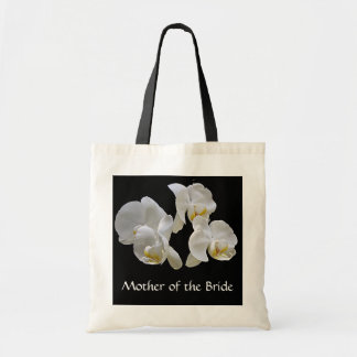 Mother of the Bride with white orchids on black Tote Bag