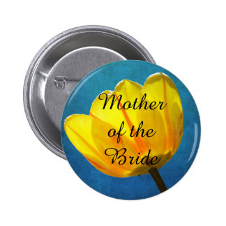 Mother of the Bride Yellow Tulip on Blue Button