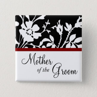 Mother of the Groom Black and White Floral Button
