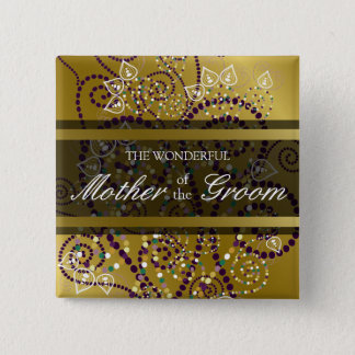 MOTHER OF THE GROOM Boho Spirals Wedding Button
