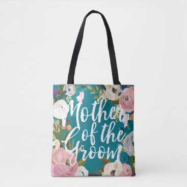 beckynimoy Mother of the Groom Brushed Floral Wedding Tote