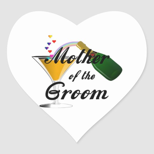 Mother of the Groom Champagne Toast Heart Sticker