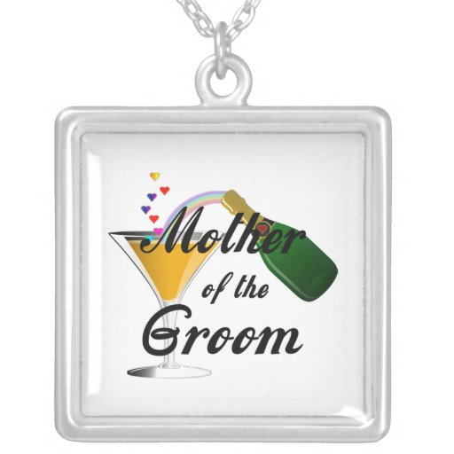 Mother of the Groom Champagne Toast Square Pendant Necklace