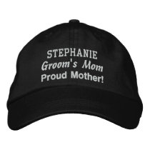Mother of the Groom Custom Name BLACK Embroidered Baseball Cap