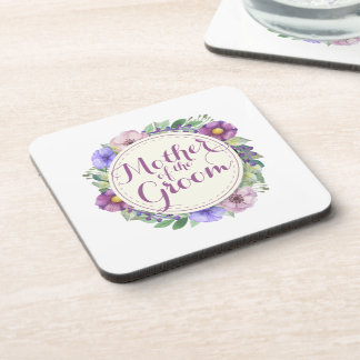 Mother of the Groom Elegant Floral Coasters