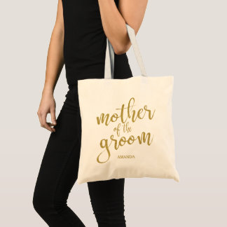 Mother of the Groom Glitter Calligraphy Tote Bag