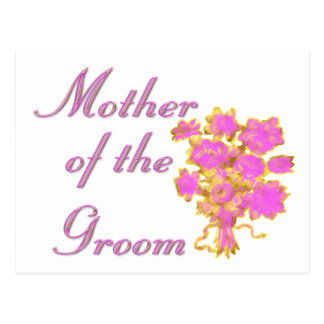 Mother Of The Groom Gold & Bouquet Postcard