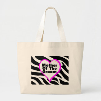 Mother Of The Groom (Heart Zebra Stripes) Large Tote Bag