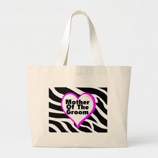 Mother Of The Groom (Heart Zebra Stripes) Large Tote Bag