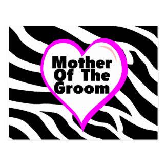 Mother Of The Groom (Heart Zebra Stripes) Postcard