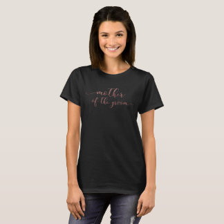 """""""Mother of the Groom"""" in Faux Rose Gold Glitter T-Shirt"""