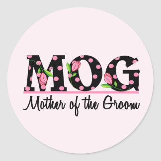 Mother of the Groom (MOG) Tulip Lettering Classic Round Sticker