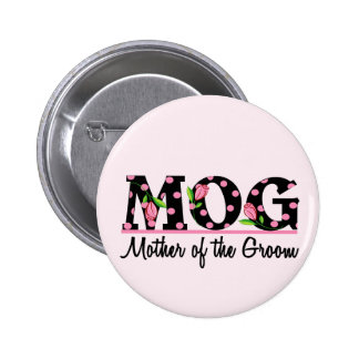 Mother of the Groom (MOG) Tulip Lettering Pinback Button