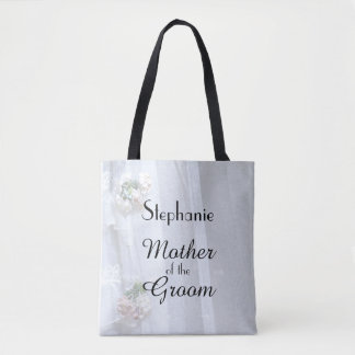 Mother of the Groom Personalized Faux Vintage Lace Tote Bag