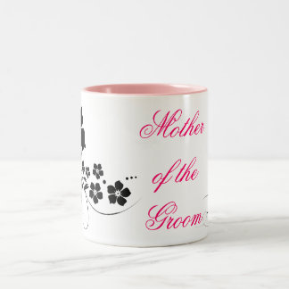 Mother of the Groom pink black Two-Tone Coffee Mug