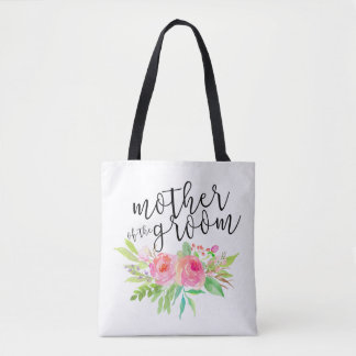 mother of the groom pink floral tote bag