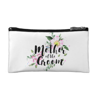 Mother of the Groom Pink Floral Watercolor Wedding Cosmetic Bag