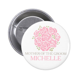 Mother of the groom pink posy wedding pin button