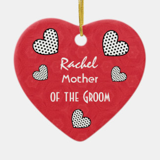 MOTHER OF THE GROOM Polka Dot Hearts V09F Double-Sided Heart Ceramic Christmas Ornament