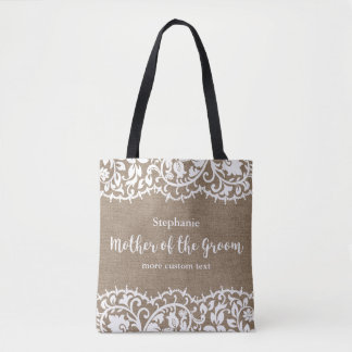 Mother of the Groom Rustic Lace Burlap Custom Tote Bag