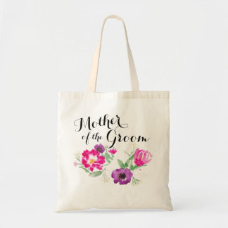 Mother of the Groom Watercolor Flowers Tote