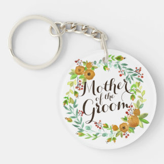 Mother of the Groom Watercolor Wedding Keychain