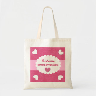 MOTHER OF THE GROOM Wedding Favor Gift with Hearts Tote Bag