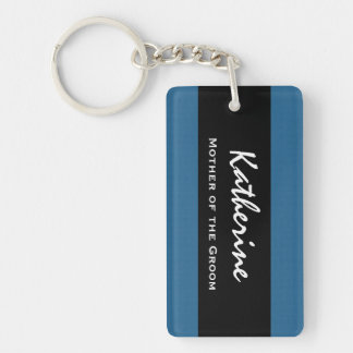 Mother of the Groom Wedding Role Blue and Black Keychain