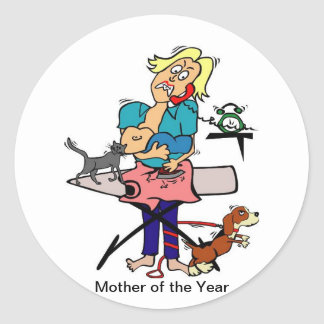 Mother of the year round stickers