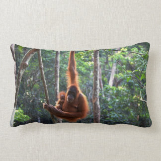 Mother Orangutan and Baby Lumbar Pillow