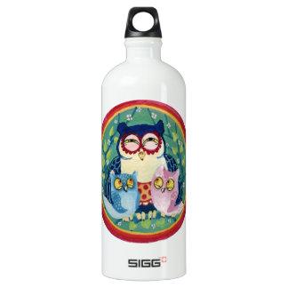 Mother owl aluminum water bottle