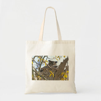 Mother Owl and Baby in Nest Canvas Bag
