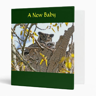 Mother Owl and Baby in Nest 3 Ring Binders
