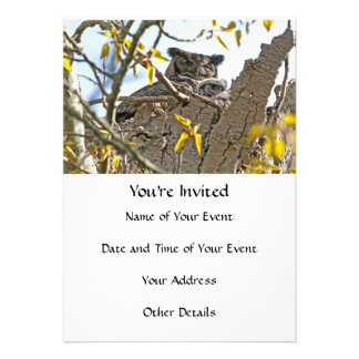 Mother Owl and Baby in Nest Invite