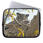Mother Owl and Baby in Nest Laptop Computer Sleeves