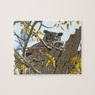 Mother Owl and Baby in Nest Jigsaw Puzzle