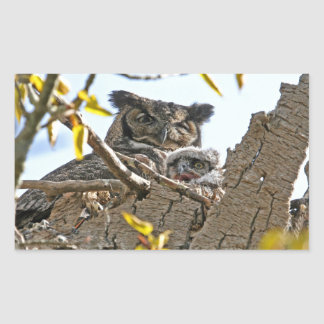 Mother Owl and Baby in Nest Stickers