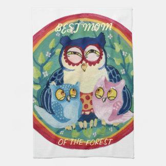 Mother owl best mom kitchen towel