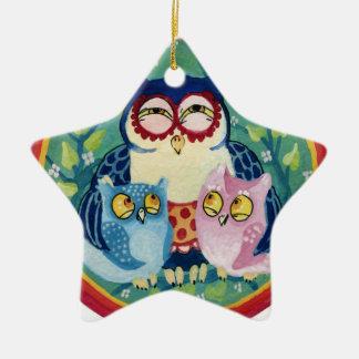 Mother owl ceramic ornament